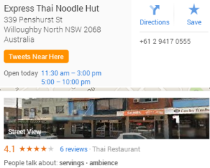 Thai Noodle Hut location